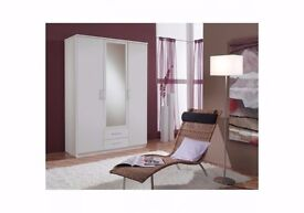 🔔🔔🔔EXPRESS DELIVERY🔔🔔🔔= BRAND NEW 3 DOOR OSAKA WARDROBE IN WHITE AND WALNUT WITH MIRROR