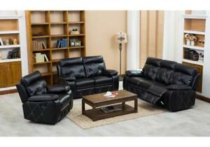 Leather sofa set with glider recliner chair (KA708)