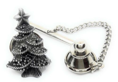 PEWTER CHRISTMAS TREE  TIE TACK / LAPEL PIN