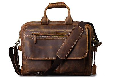 Men's Crazy Horse real Leather Briefcase Handbag Shoulder Messenger  Laptop Bag