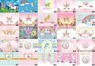 5x7ft Cute Child Unicorn Birthday Party Photography Backgrounds Flower Backdrops (Unicorn Flowers)