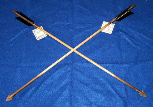 "Set of 2 Native American made Arrows 24"" L Jet Black Feathers Stone Arrowheads"