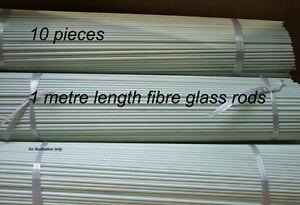 10pcs Fibreglass Rods, 1metre length. 4.6mm dia. White