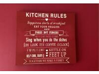 Kitchen canvas red quirky rules retro