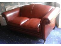 Almost new, Laura Ashley 'Gloucester' 2 seater sofa in tan leather.