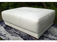 A New Endurance Jewel White Leather Footstool