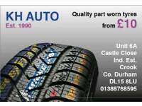 Part worn tyres FITTED FROM £10