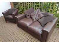 Lovely Brown Leather Suite. 2 Seater Sofa & Armchair. LIKE NEW! Grab a bargain! Delivery Possible.