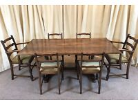 Antique Dining Table & Chairs Oak Refectory Table & 6 Ladder Back Chairs