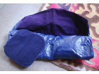 Blue flocked single inflatable airbed with integrated pump