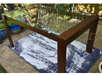 Ex-display Callisto Dark Oak ang Glass Dining Table. 180 cm L x 90 cm W