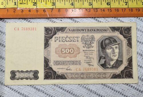 Poland 500 Zlotych 1948 Paper Money Banknote