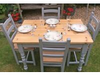 SUPERB OLD CREAMERY FARMHOUSE PINE TABLE & 4 BEECH CHAIRS HAND PAINTED F&B