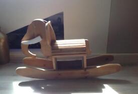 Bespoke Handmade Child's Pine Rocking Elephant for Ages 2+ Years