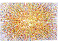 VERY LARGE ABSTRACT NEW YELLOW SUN STAR MODERN ART DRIP DOT PAINTING ON LOOSE CANVAS | Free Delivery