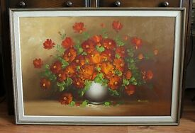 £70 ono! Original Oil Painting on Canvas, Flowers, Framed, Signed Edwards