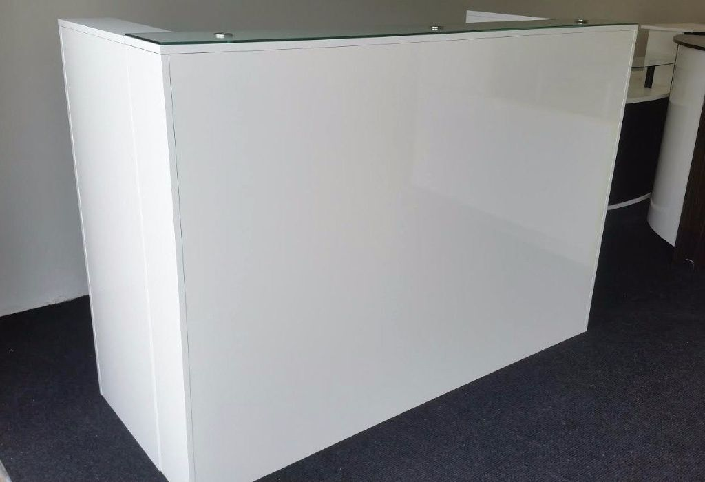 High Quality Reception Desk White High Gloss Glass On Top