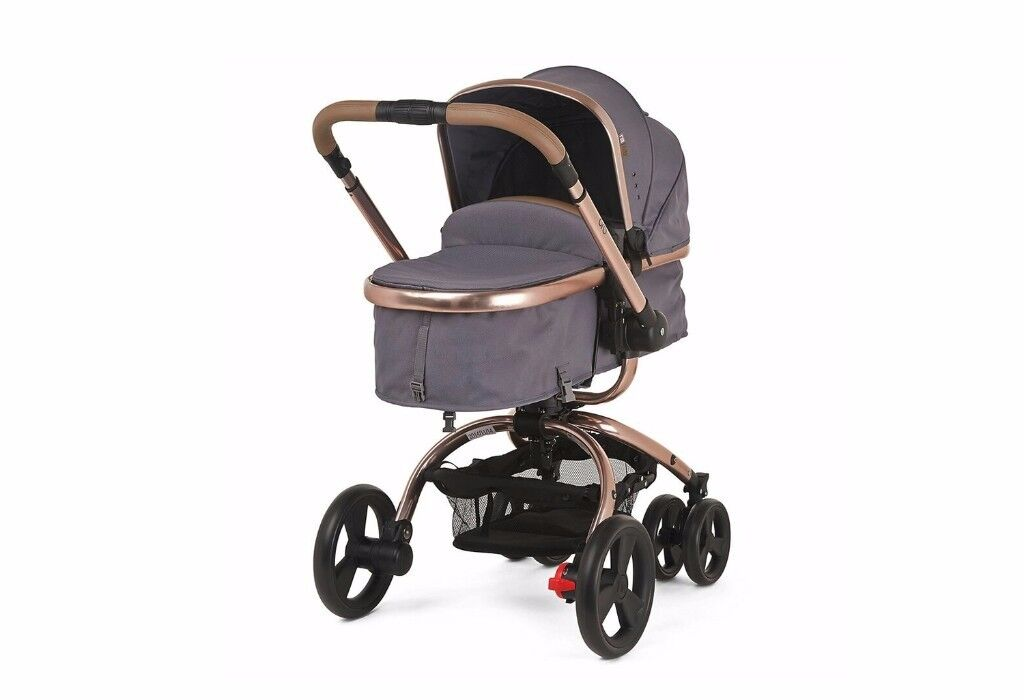 Brand New Mothercare Charcoal Orb Twill pram with new Maxi Cosi car seat and adapters