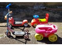 JOBLOT OF 4 ACTIVITY TOYS- 2 PUSH SCOOTERS 1 DRAG ALONG TROLLEY 1 RIDE-ON CAR KIDS CHILDREN 2-5 YRS