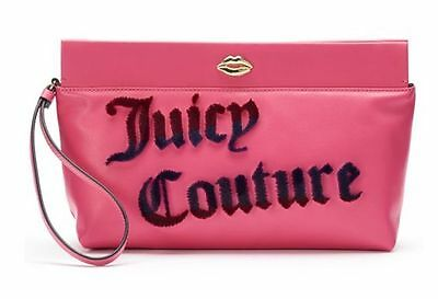 JUICY COUTURE Large Flocked Raspberry Clutch Wristlet Purse NWTs