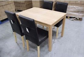 NEW BOXED BIRCH DINING TABLE & 4 FAUX LEATHER CHAIRS Can Deliver RRP £379 View/Collect NG17