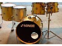 Sonor special edition drums, vintage gold/silver sparkle