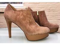 Mint Velvet Beige / Brown Suede Ankle Boots - Platform - Eu 41/UK 8 - Stunning & VGC - Cost £129 new