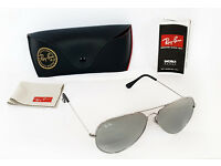 RAY BAN RB3026 SILVER MIRROR 62mm LARGE AVIATOR SUNGLASSES 62-14 CASE LENS 3025