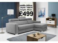 BRAND NEW Living Room Corner Sofa with Bed Function Different colours and fabrics FREE DELIVERY