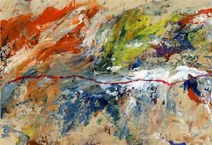 Original-abstrait-acrylique-peinture-heure-d-039-ete-fleurs