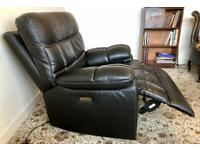 Electric Recliner VComfortable TV Gaming ArmChair Black Deep Soft Leather ManyPosns Incl nrFlat £270