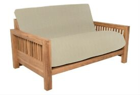 COST £1189 2 Seater Futon Company OKE Sofa Bed With UPGRADED 3 Panel Double Futon Mattress OAK Frame