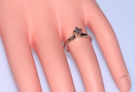 DAZZLING 14CT WHITE GOLD OLD EUROPEAN CUT ROUND DIAMOND SOLITAIRE RING SIZE L FULLY HALLMARKED .45CT