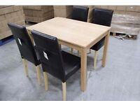 NEW BOXED BIRCH DINING TABLE & 4 FAUX LEATHER CHAIRS Can Deliver View/Collect NG17