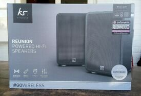 KitSound Reunion Wireless Bookshelf Speakers inc Remote