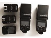 2 X YONGNUO YN622C TRIGGERS & 2 X YONGNUO YN 568EX 111 TTL SPEEDLITES FOR CANON