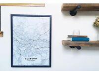 MAP / ART CUSTOM GLASGOW + FRAME