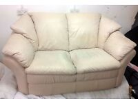 2 Seater Seat Leather Sofa Cream/Pinkish in Linwood Paisley Can deliver
