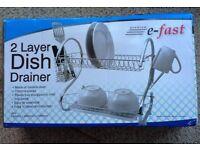 2-Tier Dish Drainer, Black/Chrome (NEW)
