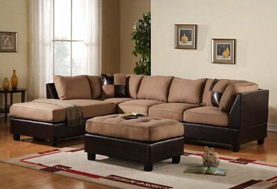 3PC Sectional Sofa Set Microfiber Faux Leather, Ottoman, Reversible Chaise, Tan