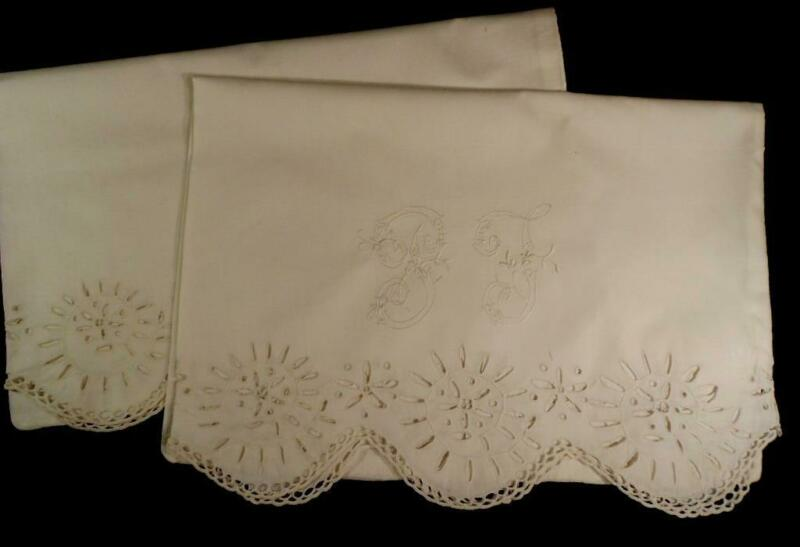 PR EARLY VINTAGE WHITE COTTON PILLOW CASES BRODERIE ANGLAIS,MONOGRAMMED