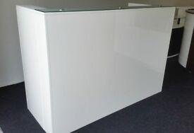 Reception Desk in White High Gloss, 1800mm/650mm/1200h