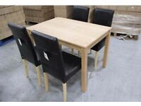 NEW BOXED BIRCH DINING TABLE & 4 BLACK FAUX LEATHER CHAIRS **CAN DELIVER**