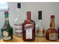 5 Empty spirits bottles: Hydromel, Carlos I, Cointreau, Benedictine & Grand Marnier.£5/lot-£1.50/ea.
