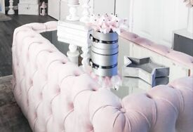Beautiful pink coffee table with glass top