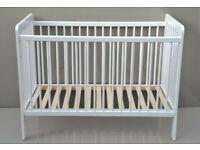 V0399 - John Lewis & Partners Eric Cot, In White RRP £63 Baby Nursery Crib Ex-Display