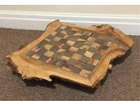 Tree trunk chess board