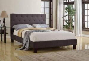 Brassex Robinson Platform Bed - Full and Queen Size Bed Frame In Grey Linen In Stock In Canada