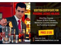 Scottish Personal Licence Training | SCPLH Courses in Glasgow Edinburgh Dundee Aberdeen Scoltand
