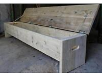 Norway spruce style wooden bench with storage